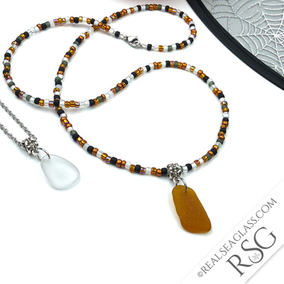 SEA GLASS DUO - Trick or Treat Beaded Halloween Bright Amber & Crystal Clear Sea Glass Necklaces