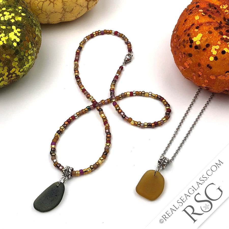 SEA GLASS DUO - Pumpkin Spice Beaded Fall Bright Amber & Olive Green Sea Glass Necklaces