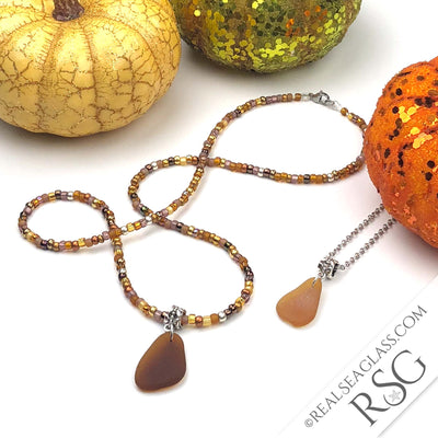 SEA GLASS DUO - Falling Leaves Beaded Fall Root Beer Brown & Bright Amber Sea Glass Necklaces
