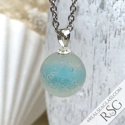 Turquoise & Fisheye Sea Glass Marble Pendant