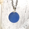 Cobalt Blue and Clear Swirled Fisheye Sea Glass Marble Pendant