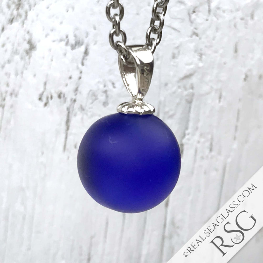 Bright Solid Cobalt Blue Sea Glass Marble Pendant