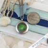 Green Sea Glass Locket Necklace - Mini Round