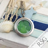 Green Sea Glass Locket Necklace - Round