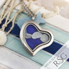 Blue Sea Glass Locket Necklace - Heart
