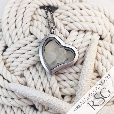 Crystal Clear Sea Glass Locket Necklace - Heart