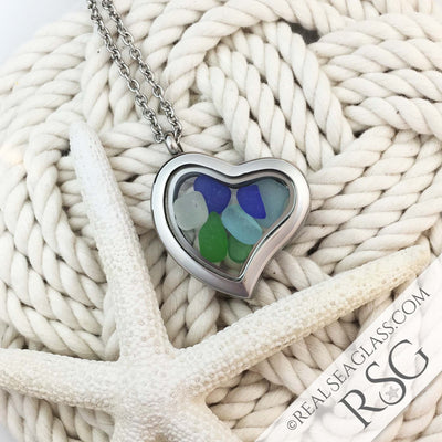 Multi-Colored Sea Glass Locket Necklace - Heart