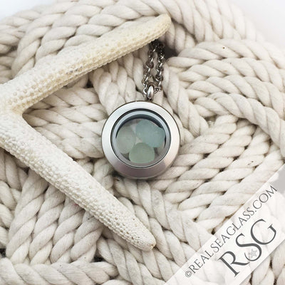 Seafoam Sea Glass Locket Necklace - Mini Round