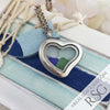 Multi-Colored Sea Glass Locket Necklace - Mini Heart