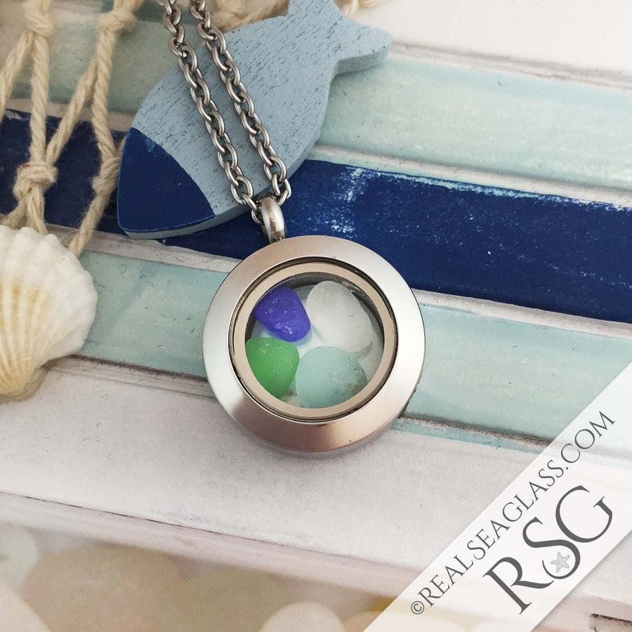 Multi-Colored Sea Glass Locket Necklace - Mini Round