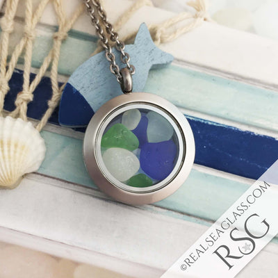 Multi-Colored Sea Glass Locket Necklace - Round