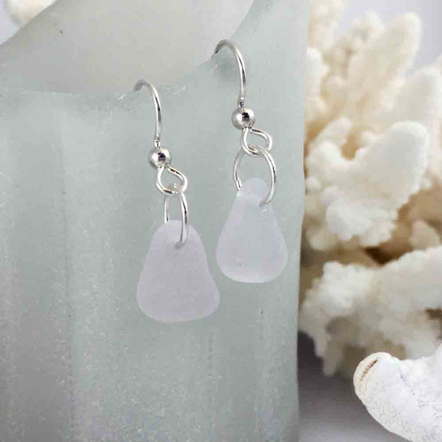 Just a Kiss of Sun Purple Sea Glass Earrings