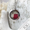 Special Edition Red & Clear Sea Glass Locket with Pewter Sand Dollar