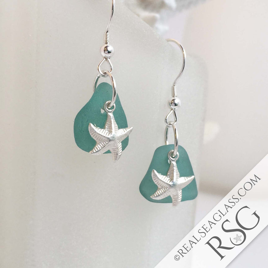 Stormy Teal Sea Glass Earrings with Sterling Silver Starfish Charms