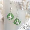 Bright Lime Green Sea Glass Earrings with Sterling Silver Starfish Charms