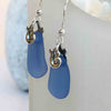Bright and Beautiful Cornflower Blue Ocean Waves Sea Glass Earrings | #1631