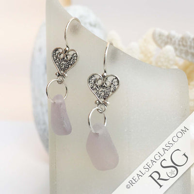 Soft Sun Purple Sea Glass Sterling Filigree Heart Earrings