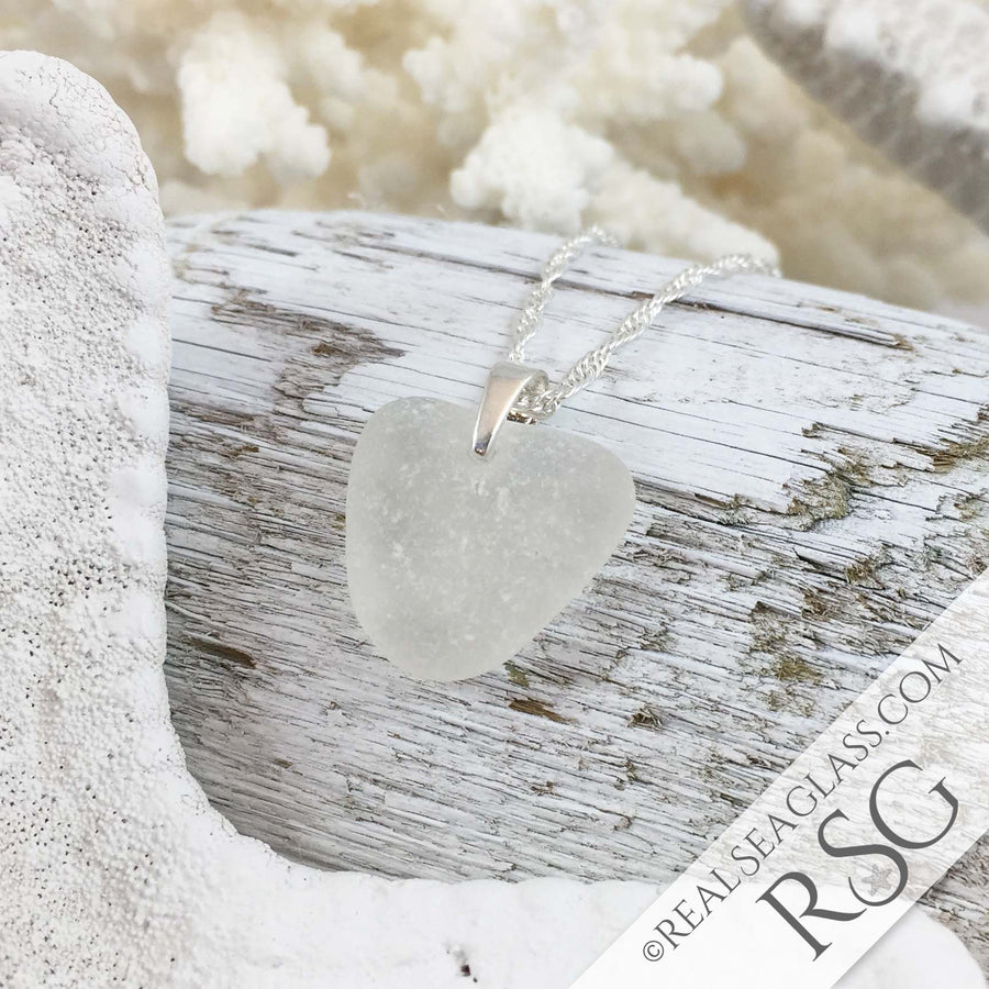 Perfect Frosty Clear Scottish Heart-Shaped Sea Glass Pendant