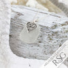Thick, Clear Frosty Sea Glass Pendant with Filigree Heart Charm