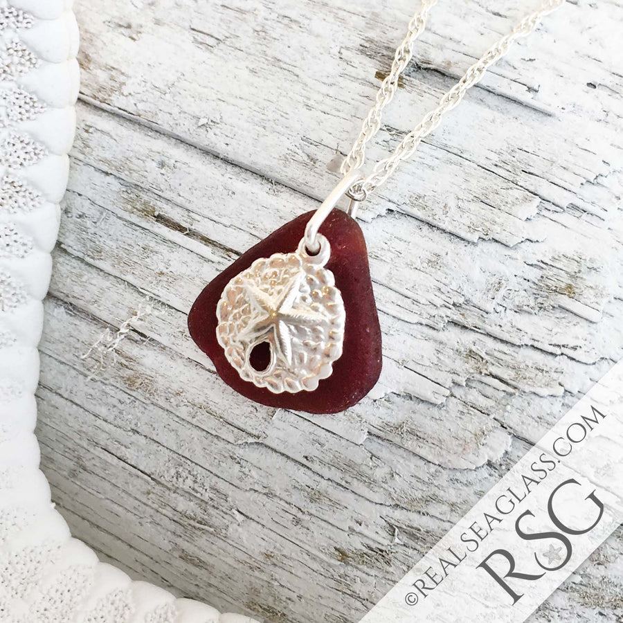 Red Sea Glass Necklace with a Sterling Silver Sand Dollar Charm