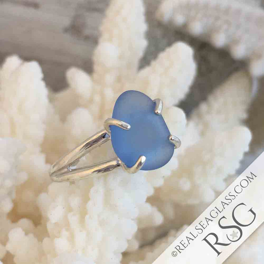 Soft Cornflower Blue Sea Glass Ring in Sterling Silver Size 8