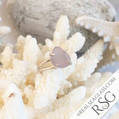 Sun Purple Sea Glass Ring in Sterling Silver Size 8