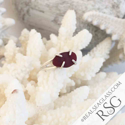Rich Red Sea Glass Ring in Sterling Silver Size 8