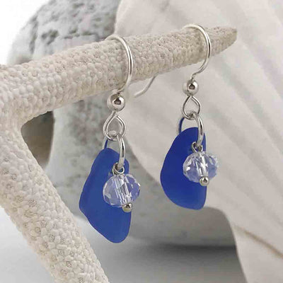 Cobalt Blue Sea Glass Earrings with Sunrise Crystals