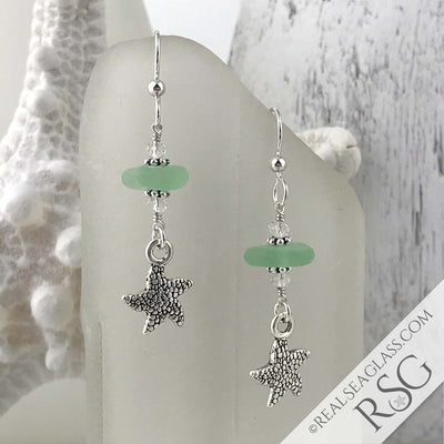 Seafoam Sea Glass Earrings with Starfish Charms
