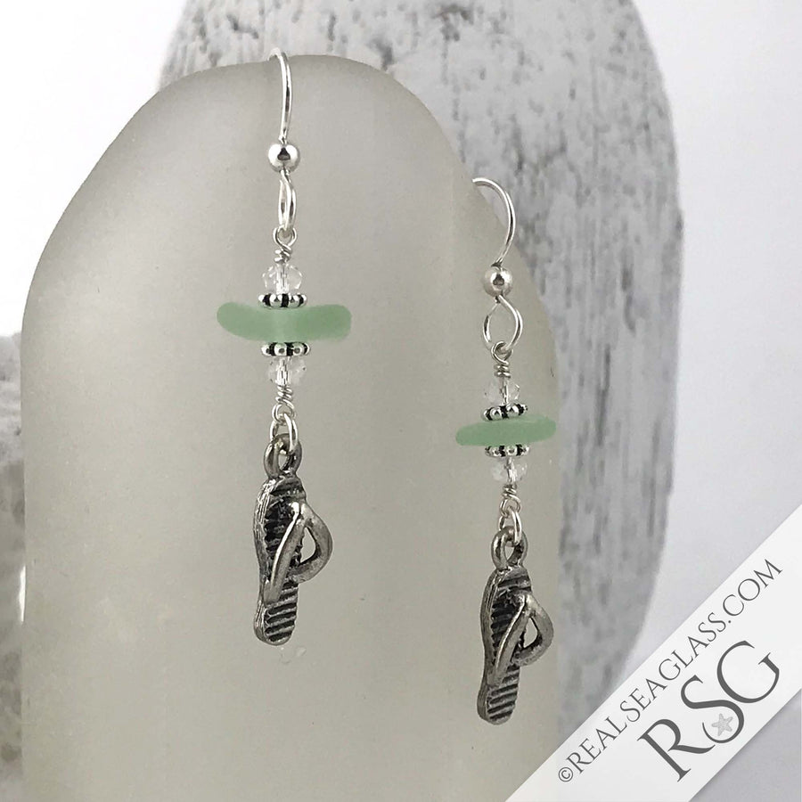 Seafoam Sea Glass Earrings with Flip Flop Charms