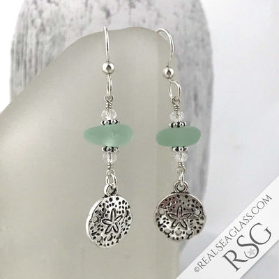 Seafoam Sea Glass Earrings with Sand Dollar Charms