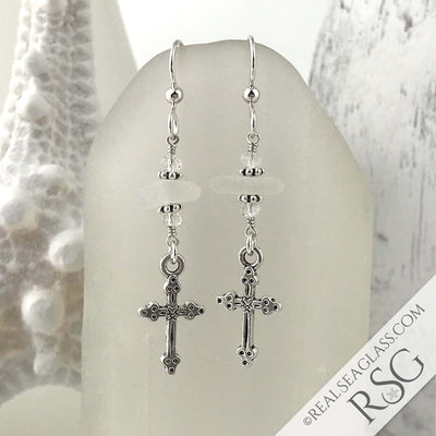Crystal Clear Sea Glass Earrings with Cross Charms