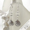 Crystal Clear Sea Glass Earrings with Sand Dollar Charms