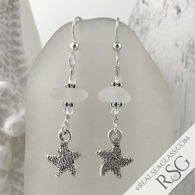 Crystal Clear Sea Glass Earrings with Starfish Charms