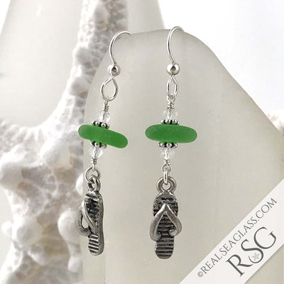 Bright Kelly Green Sea Glass Earrings with Flip Flop Charms | #3134