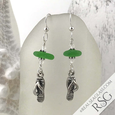 Bright Kelly Green Sea Glass Earrings with Flip Flop Charms