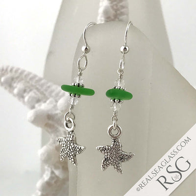 Bright Kelly Green Sea Glass Earrings with Starfish Charms