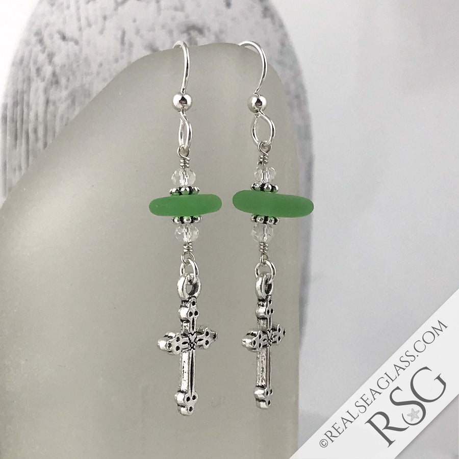 Bright Kelly Green Sea Glass Earrings with Cross Charms