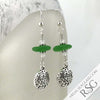 Bright Kelly Green Sea Glass Earrings with Sand Dollar Charms