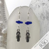 Cobalt Blue Sea Glass Earrings with Flip Flop Charms