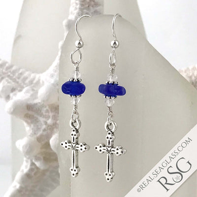 Cobalt Blue Sea Glass Earrings with Cross Charms