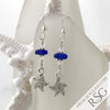 Cobalt Blue Sea Glass Earrings with Starfish Charms
