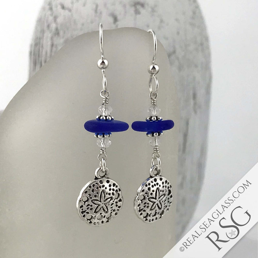 Cobalt Blue Sea Glass Earrings with Sand Dollar Charms