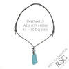 Blue Tinted Clear Sea Glass Leather Necklace with Genuine Pearl | #1396