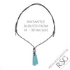 Large Soft Turquoise & Clear English Multi Sea Glass Necklace on Leather | #1521