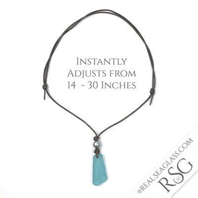 Huge Pure Aqua Sea Glass Leather Necklace with Genuine Pearl | #1399