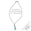 Deep Turquoise & Clear English Multi Sea Glass Necklace on Leather | #1515