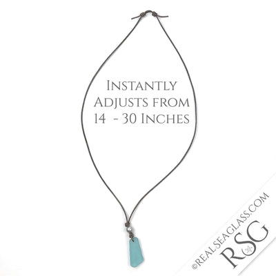 Flat, Thick Cornflower Blue Sea Glass Leather Surfside Necklace | #1571