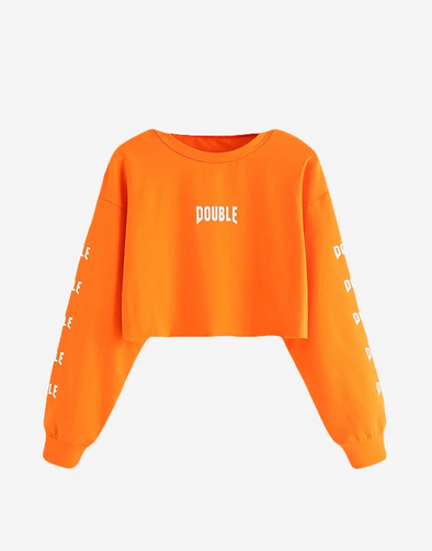 """Double"" Orange Crop Top Sweatshirt"