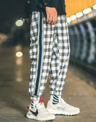 Striped Plaid Patchwork Joggers
